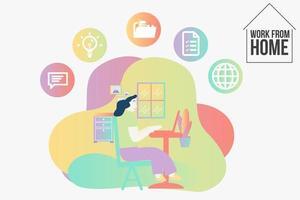 zakenvrouw thuis werken met pictogrammen bedrijfs