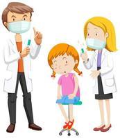 ziek meisje krijgt coronavirusvaccin door twee artsen vector