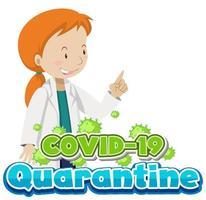covid-19 poster met vrouwelijke arts en viruscellen vector