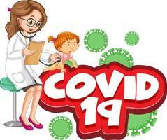 covid 19 tekst met ziek meisje en dokter vector