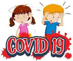 covid 19 tekst met twee zieke kinderen vector