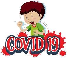 covid-19 tekstsjabloon met jongen hoest vector