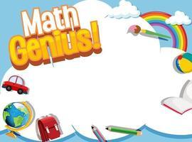 wiskundige frame sjabloon met schoolitems en hemel