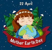 poster voor moeder aarde dag met meisje knuffelen globe vector