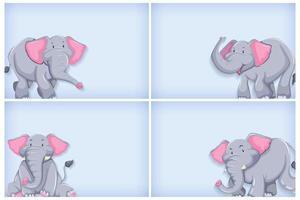 lichtblauwe achtergrond instellen met olifant vector