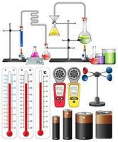set van wetenschappelijke apparatuur elementen