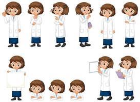 vrouw wetenschap student in verschillende poses vector