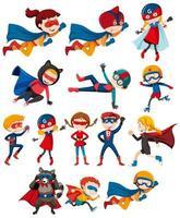 set van kinderen helden in kostuums vector