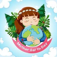 moeder aarde dag met meisje knuffelen earth globe vector