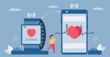 smartwatch en smartphone voor gezondheid vector