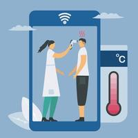 temperatuur testen door contactloos door smartphone-technologie vector