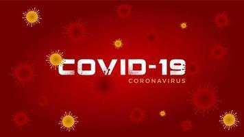 grunge covid-19 tekst rood en geel virusontwerp