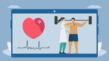 draadloze digitale stethoscoopbeoordeling van de mens met barbell vector