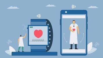 nieuwe toekomstige technologie voor mensen om hun gezondheid te controleren op smartphone vector