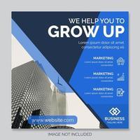 blauwe en donkerblauwe vierkante corporate postsjabloon