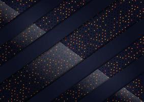 diagonale overlappende 3D-luxe zwarte en glitterachtige stippen achtergrond vector