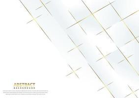 abstact witte achtergrond met gouden overlappende lijnen vector