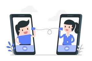 mobiele videoconferentie concept illustratie