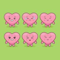 schattige hartkarakters met verschillende uitdrukkingen vector