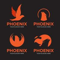 set van phoenix bird logo's vector
