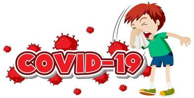 covid-19 sjabloon met zieke jongen niezen vector