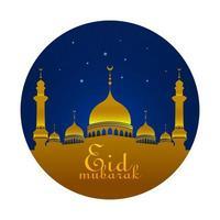 eid mubarak groet met moskee 's nachts met blauwe sterren vector