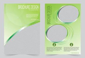 groene omslagsjabloon ontwerp set met fotolijsten vector