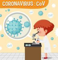 wetenschapper die coronaviruscel onder microscoop bekijkt vector