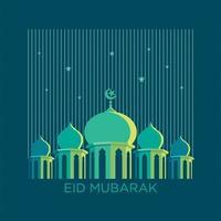 eenvoudig moskee- en sterrenlijnontwerp vector
