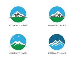 ronde berg pictogram logo set vector