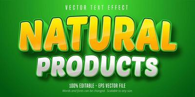 natuurlijke producten geel en wit teksteffect vector