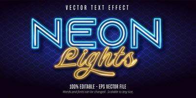 neonlichten blauw en geel teksteffect vector