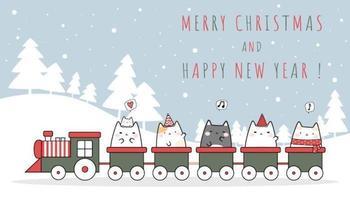schattige kat rijden trein cartoon doodle behang