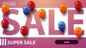 roze kortingsbanner voor website met rode, blauwe en gele ballons