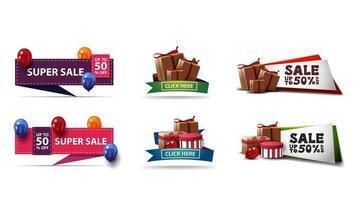 grote collectie kortingsbanners in verschillende stijlen met cadeautjes