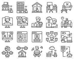 zwart-wit werk vanuit huis icon set, mannelijke versie