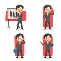 een set van Aziatische zakenman karakter vector