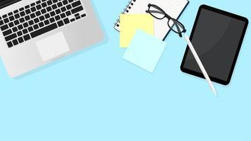 bovenaanzicht van laptop, tafels, papieren en glazen vector