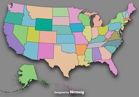 Vector Kleurrijke Staatsoverzichten / Vector Kaart Van De VS