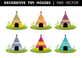 Decoratieve Tipi Huizen Gratis Vector