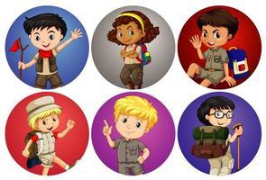 zes cirkel kinderen vector