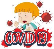 covid-19 met hoestende jongen