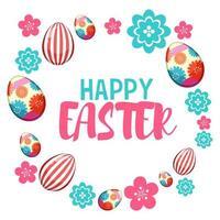 vrolijk Pasen met beschilderde eieren en bloemen vector