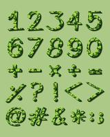 numerieke figuren met groen artwork vector