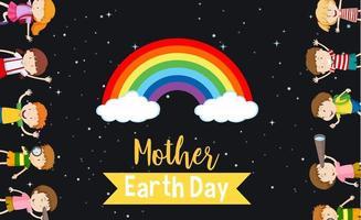 moeder aarde dag poster met gelukkige kinderen vector