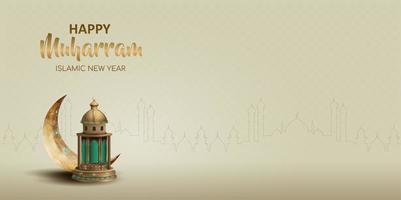 gelukkig muharram islamitisch nieuwjaarskaartontwerp vector