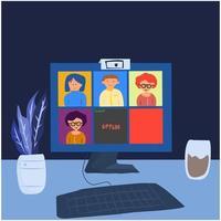 collega's videogesprek in online klas