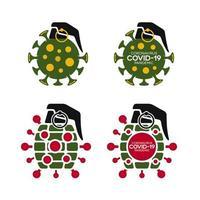 coronavirus covid-19 granaatbom icon set