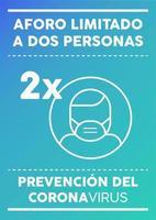 poster met beperkte capaciteit voor twee personen in het Spaans