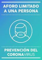 poster met beperkte capaciteit voor één persoon in het Spaans